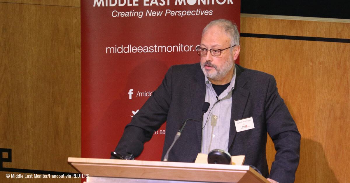 Jamal Khashoggi dando una conferencia