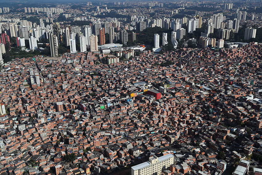 An aerial view shows the city's biggest slum Paraisopolis after residents have hired a round-the-clock private medical service to fight the coronavirus disease (COVID-19), in Sao Paulo, Brazil April 2, 2020.