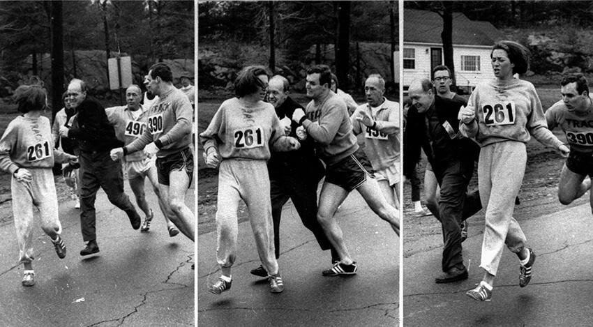 Imagen histórica donde se ve cómo Katherine Switzer es atacada por uno de los organizadores de la maratón de Boston en 1967