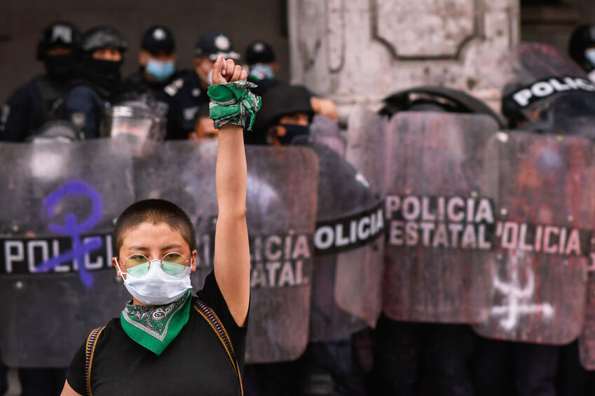 Protesta contra la violencia de género en México