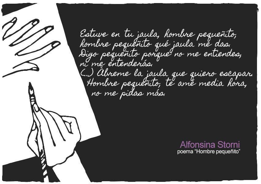 Extracto del poema Hombre pequeñito de Alfonsina Storni