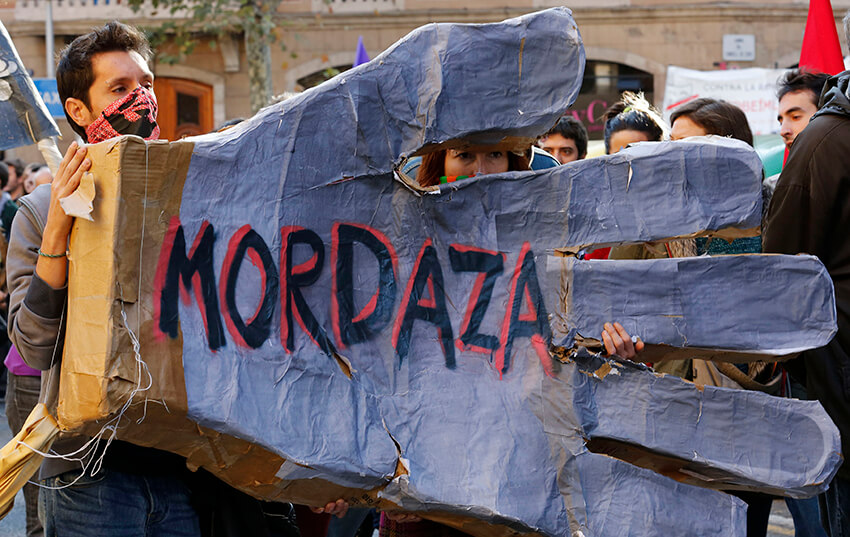 Manifestación celebrada en Barcelona contra la nueva ley de seguridad ciudadana, 20 de diciembre de 2014