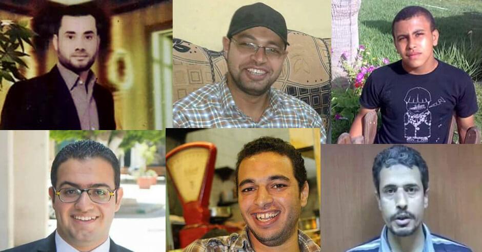 retratos de 6 de los 8 condenados a muerte